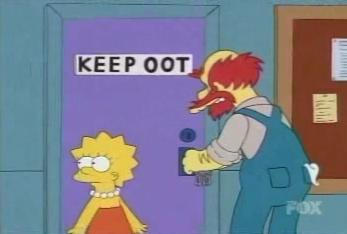 Screencap of Willie's closet with a Keep Oot sign